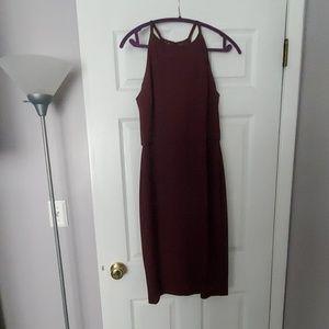 Lace back burgundy dress